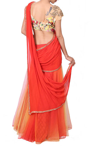 Sunset Orange Lehenga Saree With Printed & Embroidered Blouse