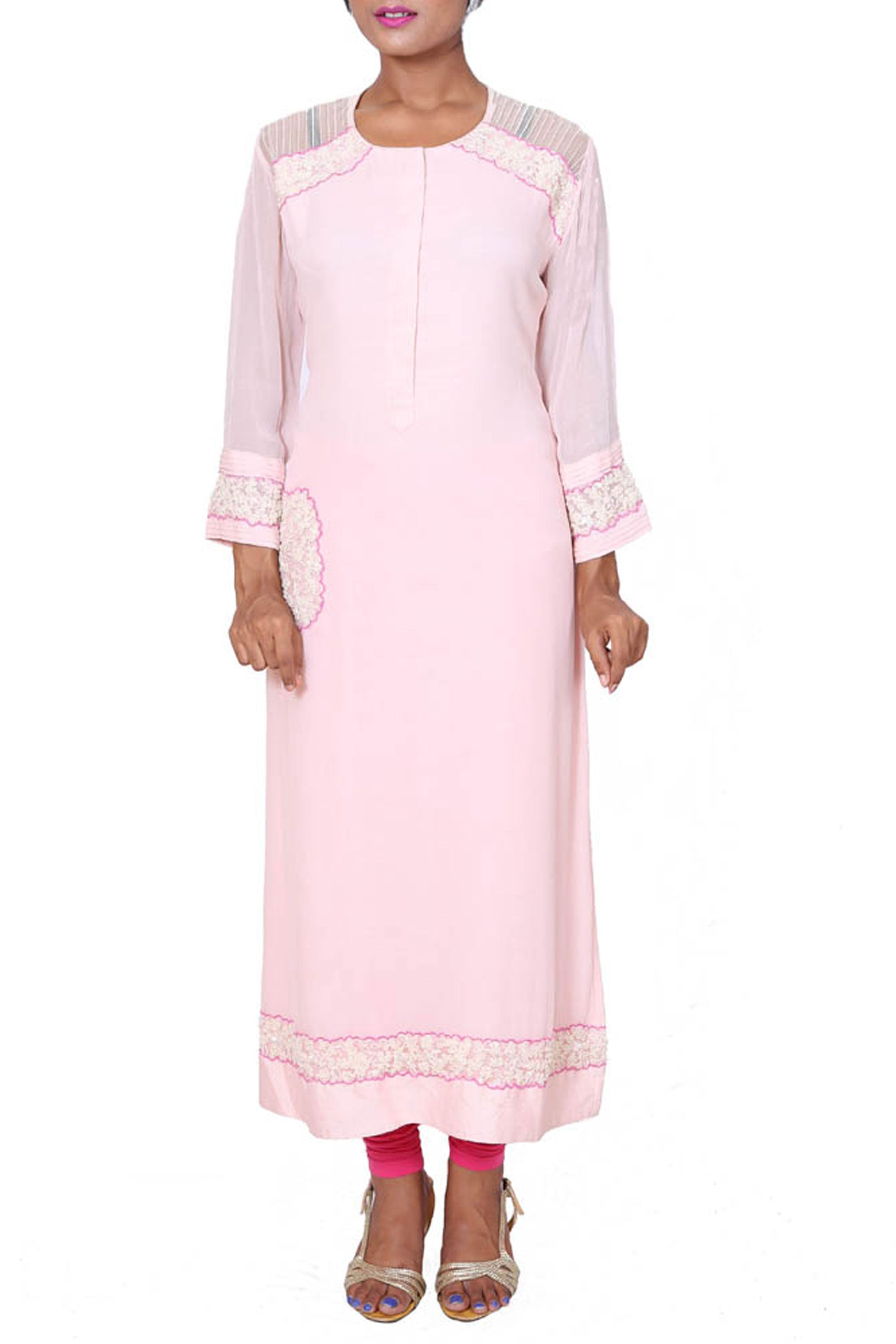 Long Tunic With Patched Dori-Moti Work Front