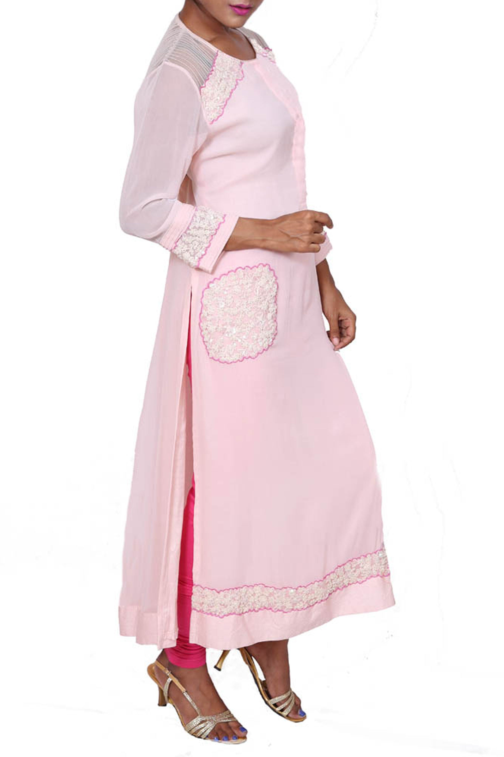 Long Tunic With Patched Dori-Moti Work Side