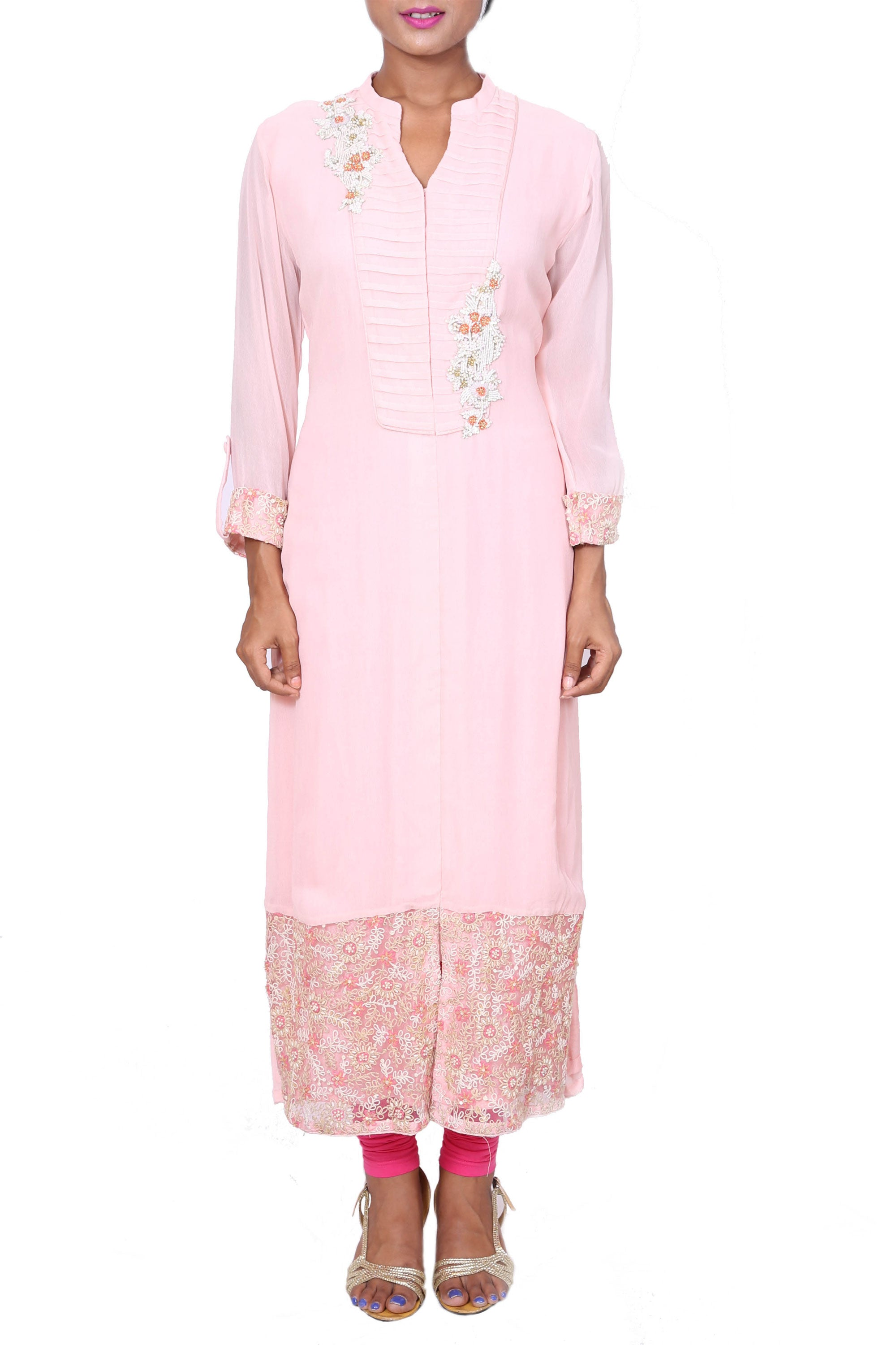 Long Baby Pink Tunic With Embroidered Hemline Front