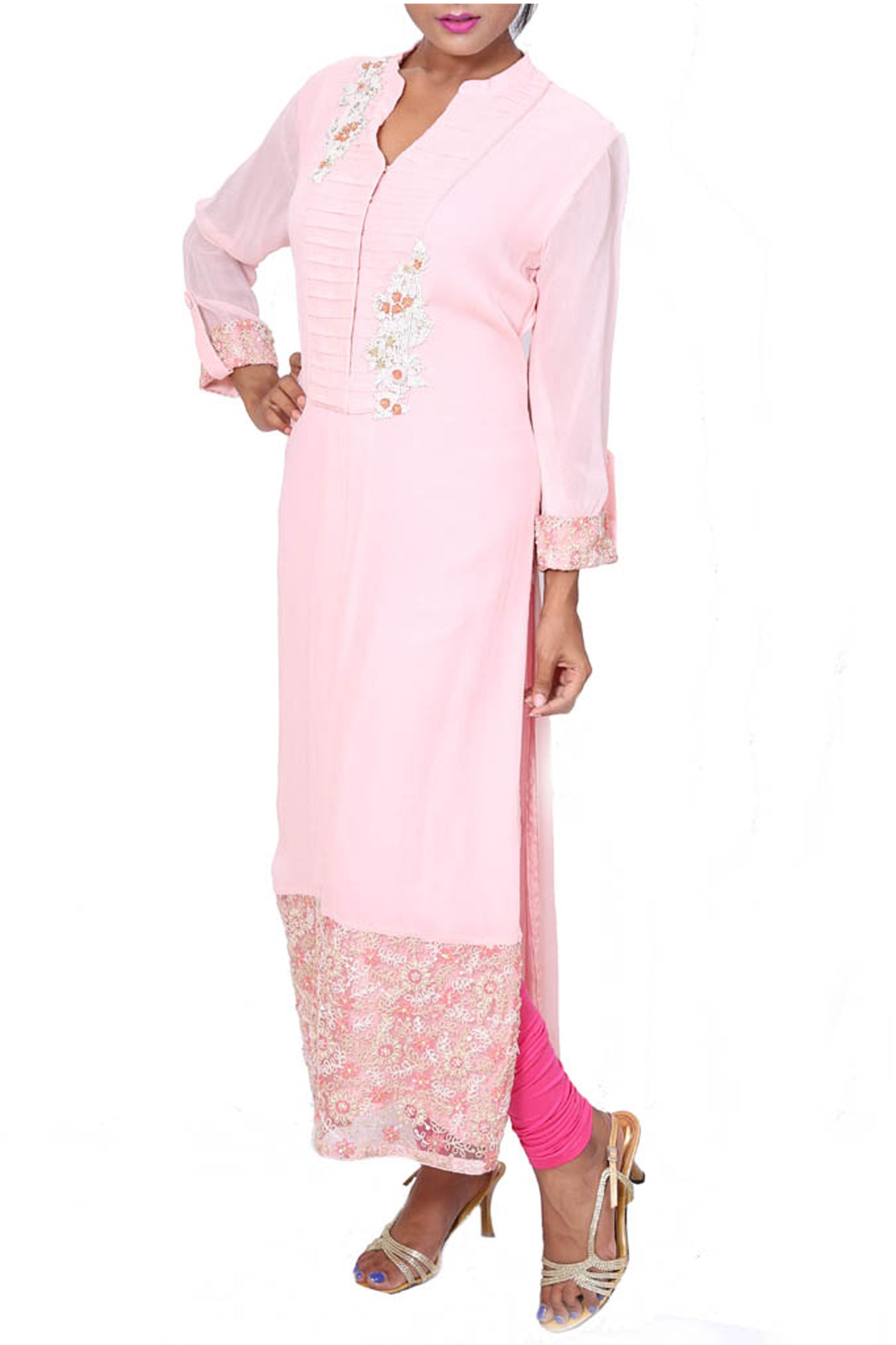 Long Baby Pink Tunic With Embroidered Hemline Side