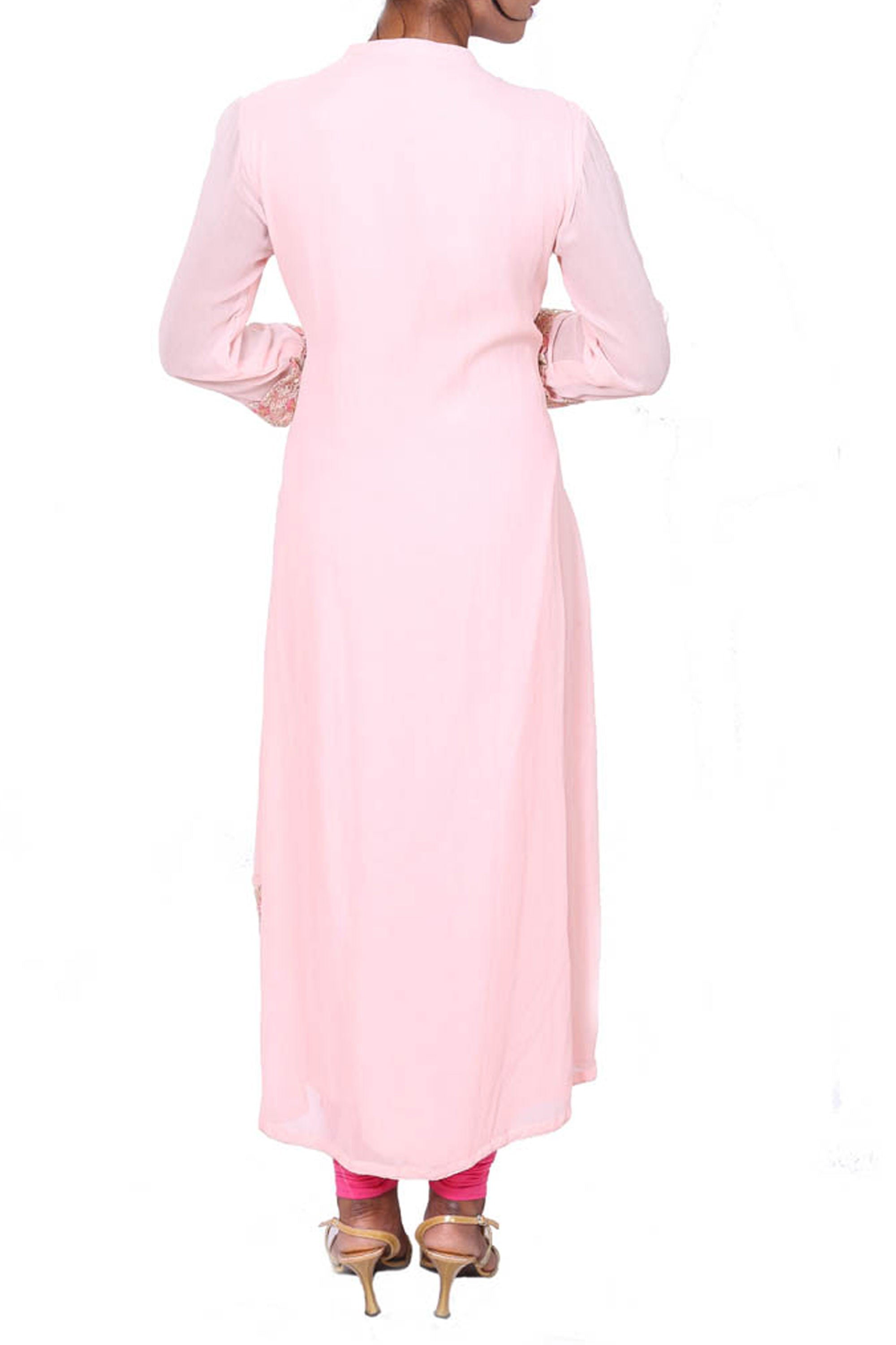 Long Baby Pink Tunic With Embroidered Hemline Back