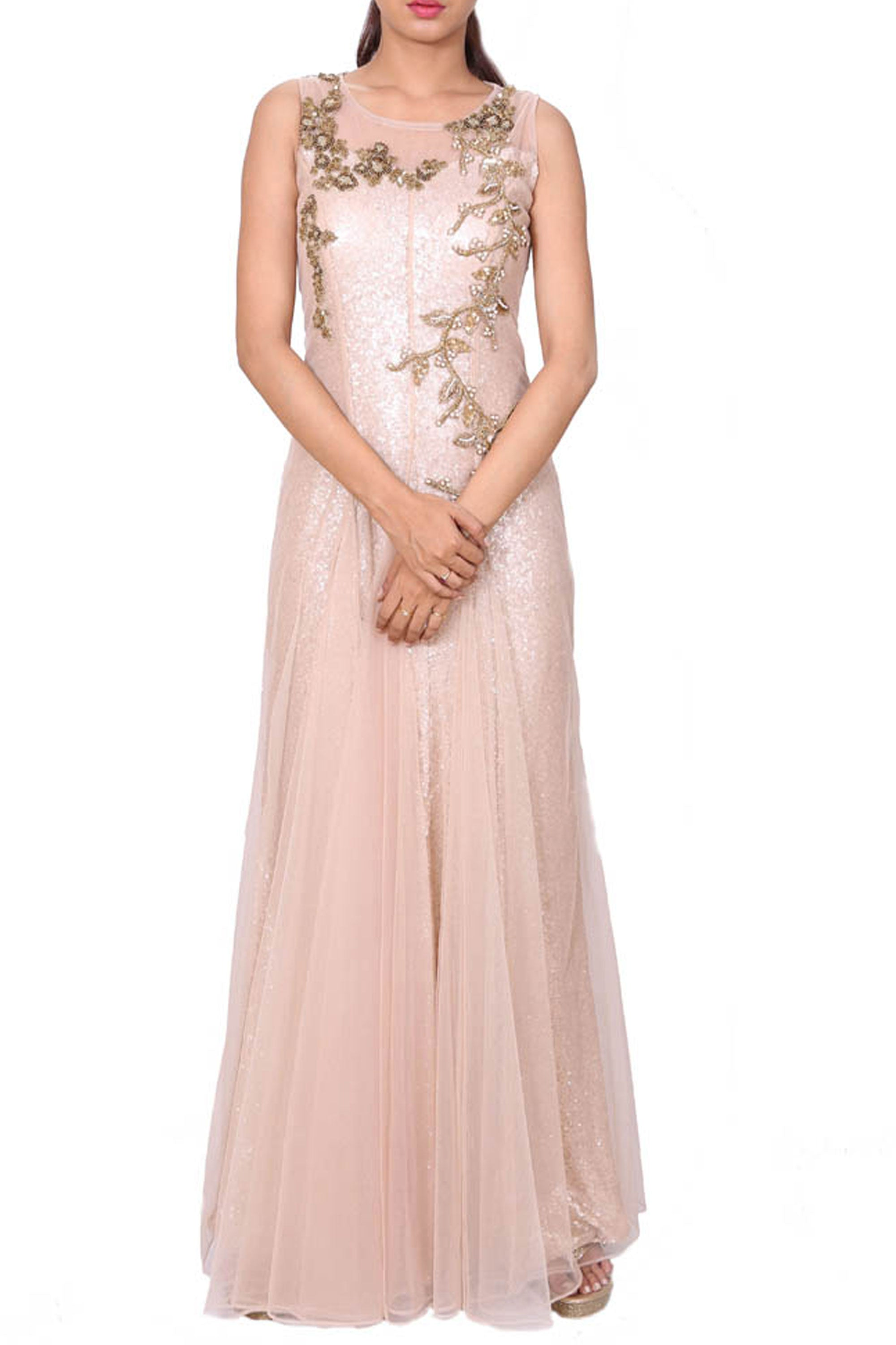 Beige Evening Gown With Gold-Moti Embroidery | VIVA-LUXE