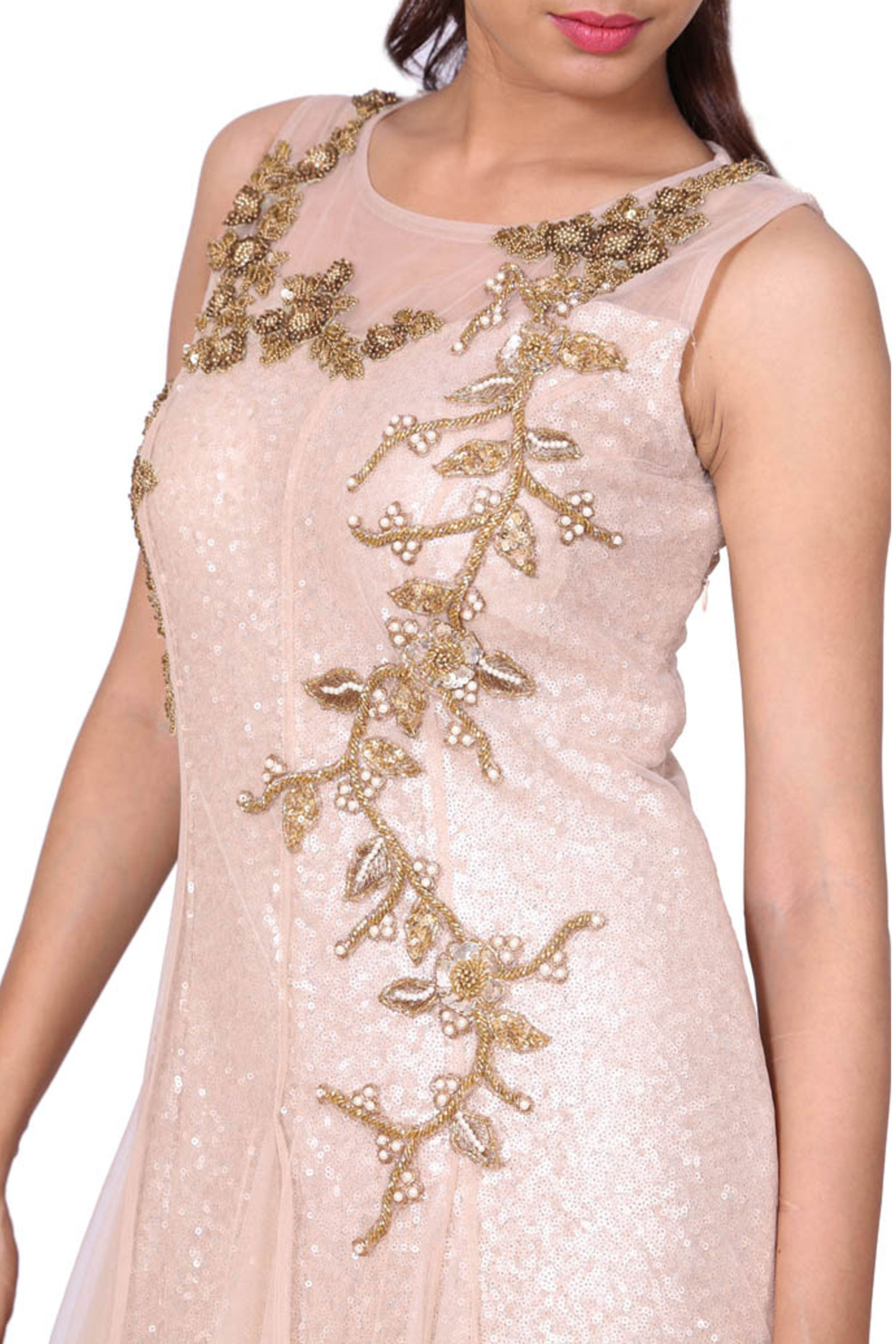 Beige Evening Gown With Gold-Moti Embroidery Closeup