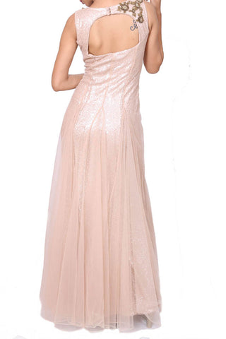 Beige Evening Gown With Gold-Moti Embroidery