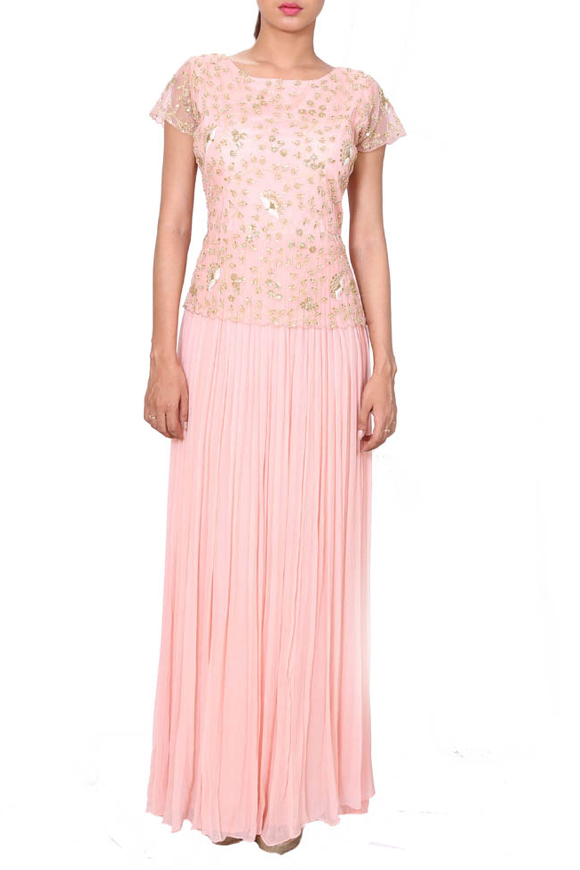 Misty Rose Evening Gown With Embroidered Yoke Front