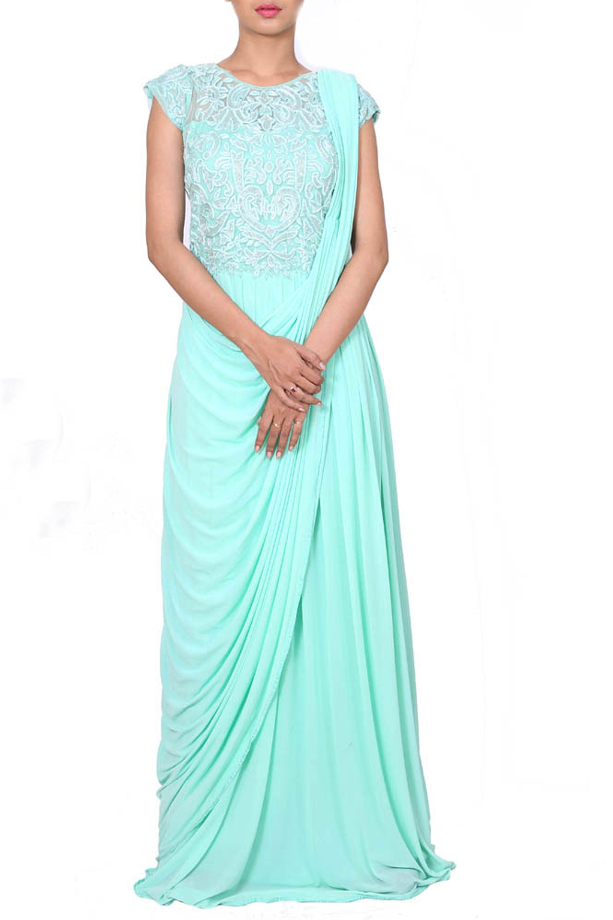 Aqua Drape Dress With Embroidered Waist Length Yoke Front