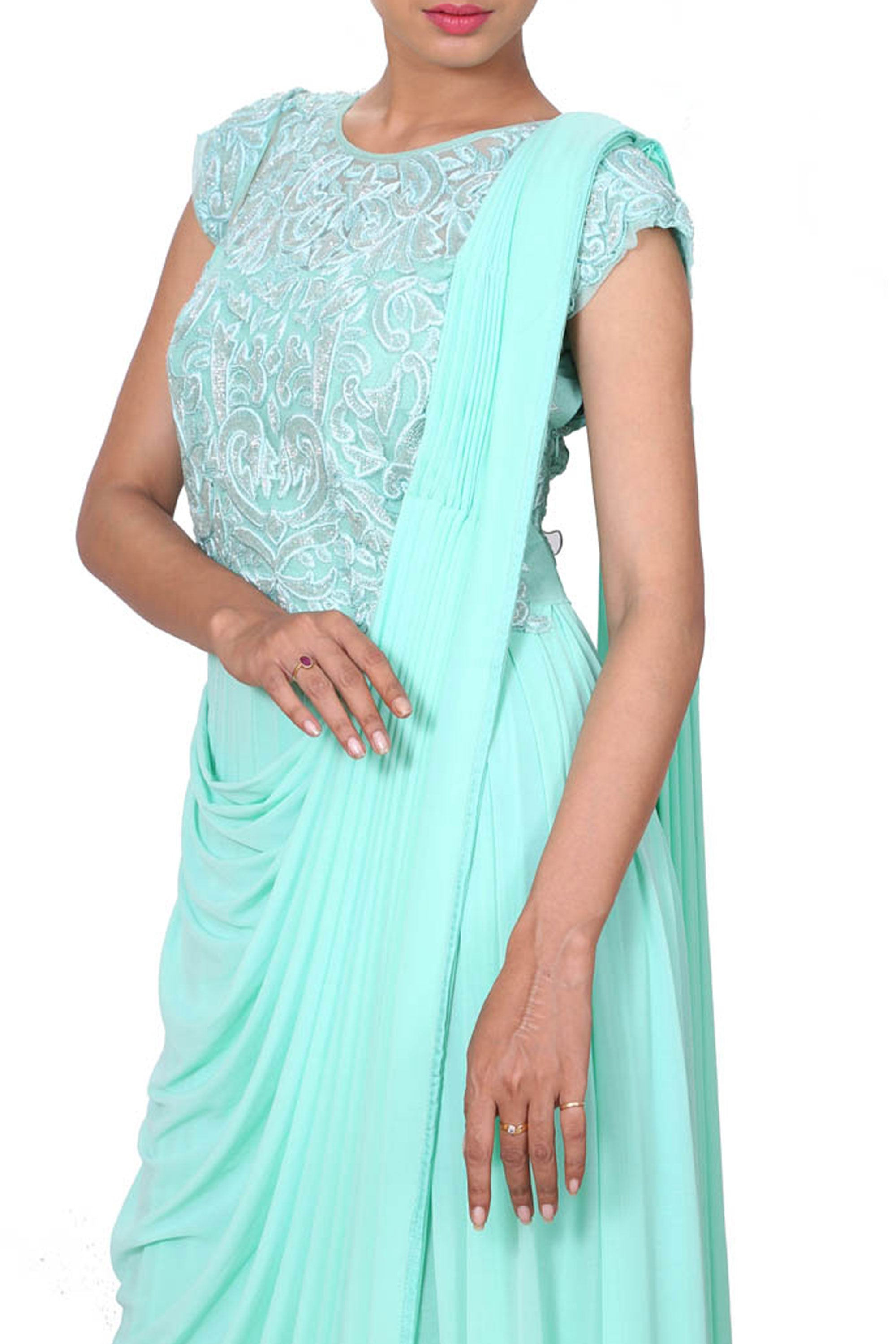 Aqua Drape Dress With Embroidered Waist Length Yoke Closeup