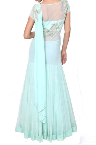 Aqua Blue Drape Gown With Saree Style Pallu
