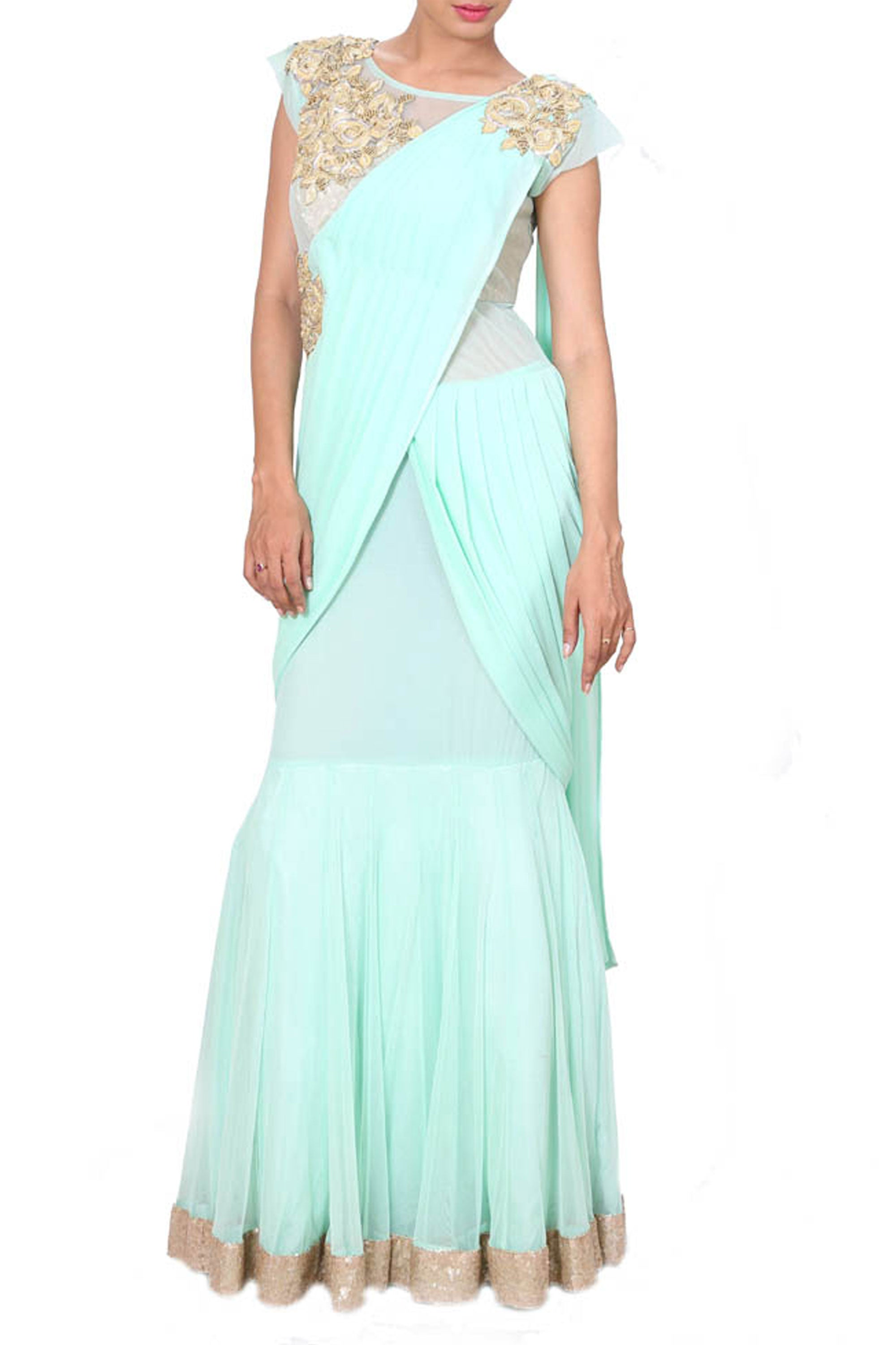 Embroidered Aqua Blue Gown In A Saree Style Drape Front