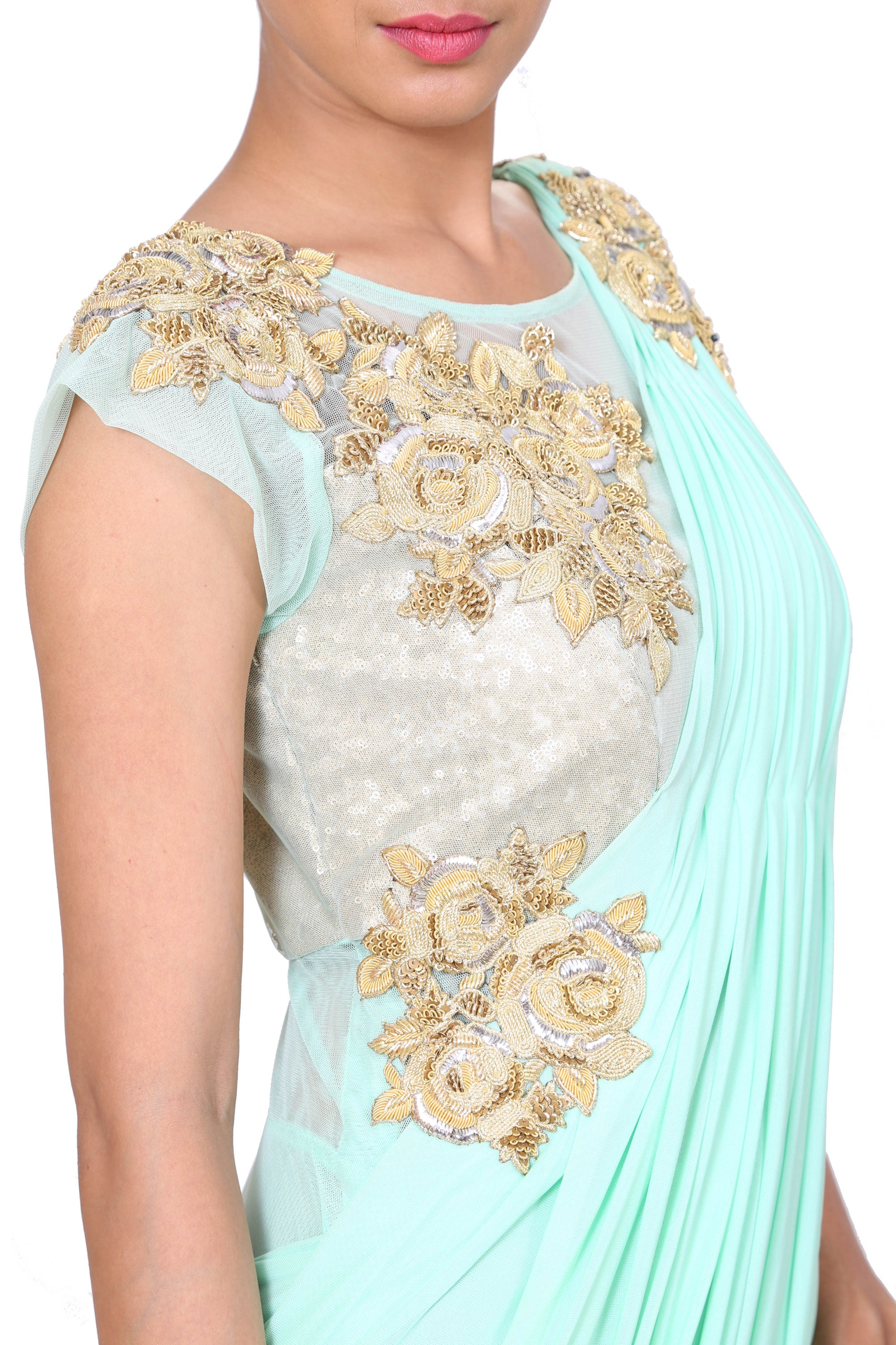 Embroidered Aqua Blue Gown In A Saree Style Drape Closeup