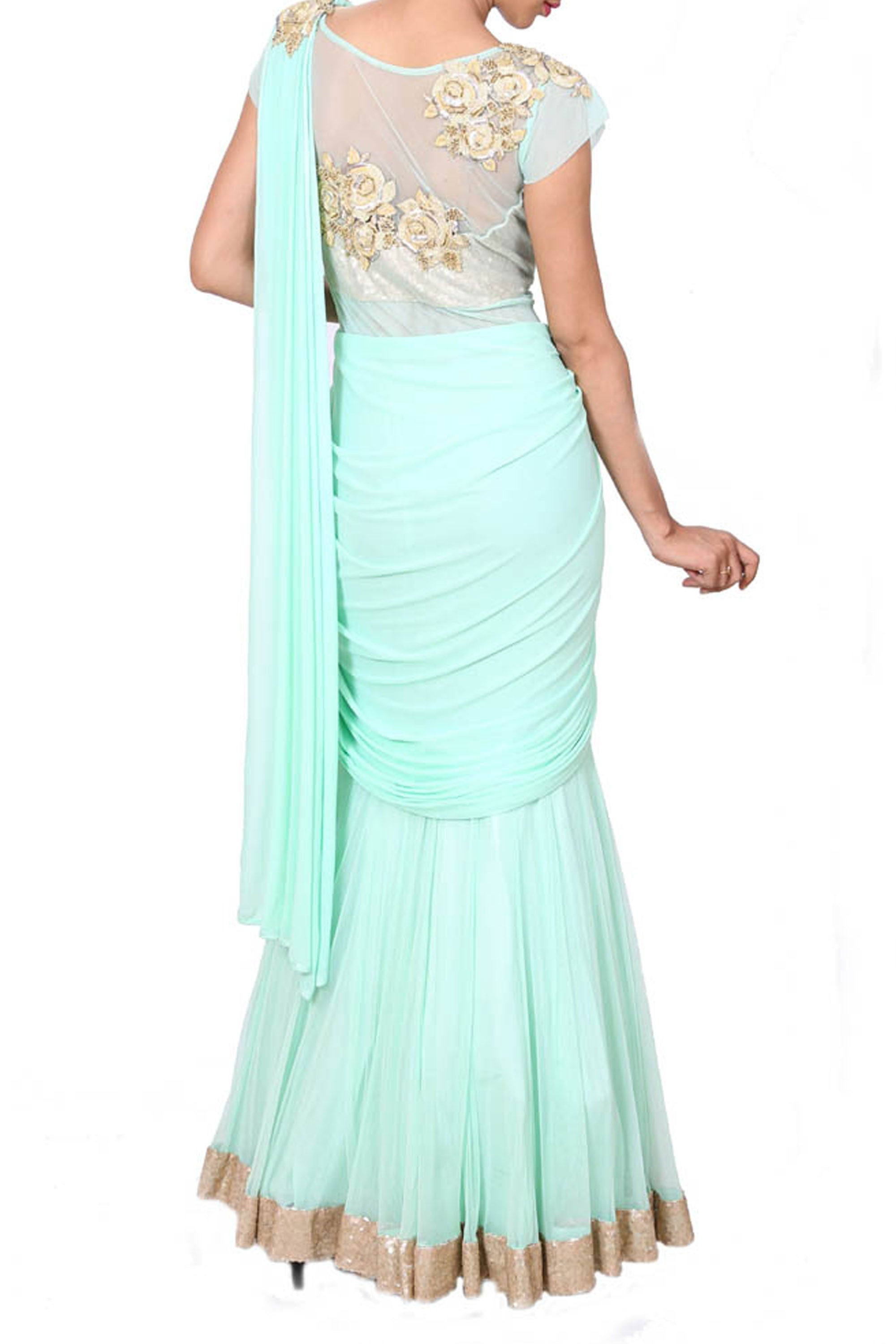 Embroidered Aqua Blue Gown In A Saree Style Drape Back