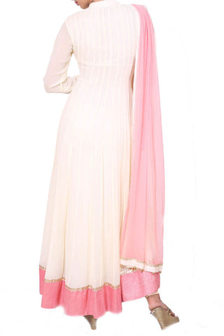 Beige & Pink Full Length Anarkali Suit Set