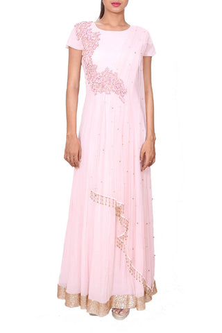 Intricately Embroidered Powdery Pink Gown Front