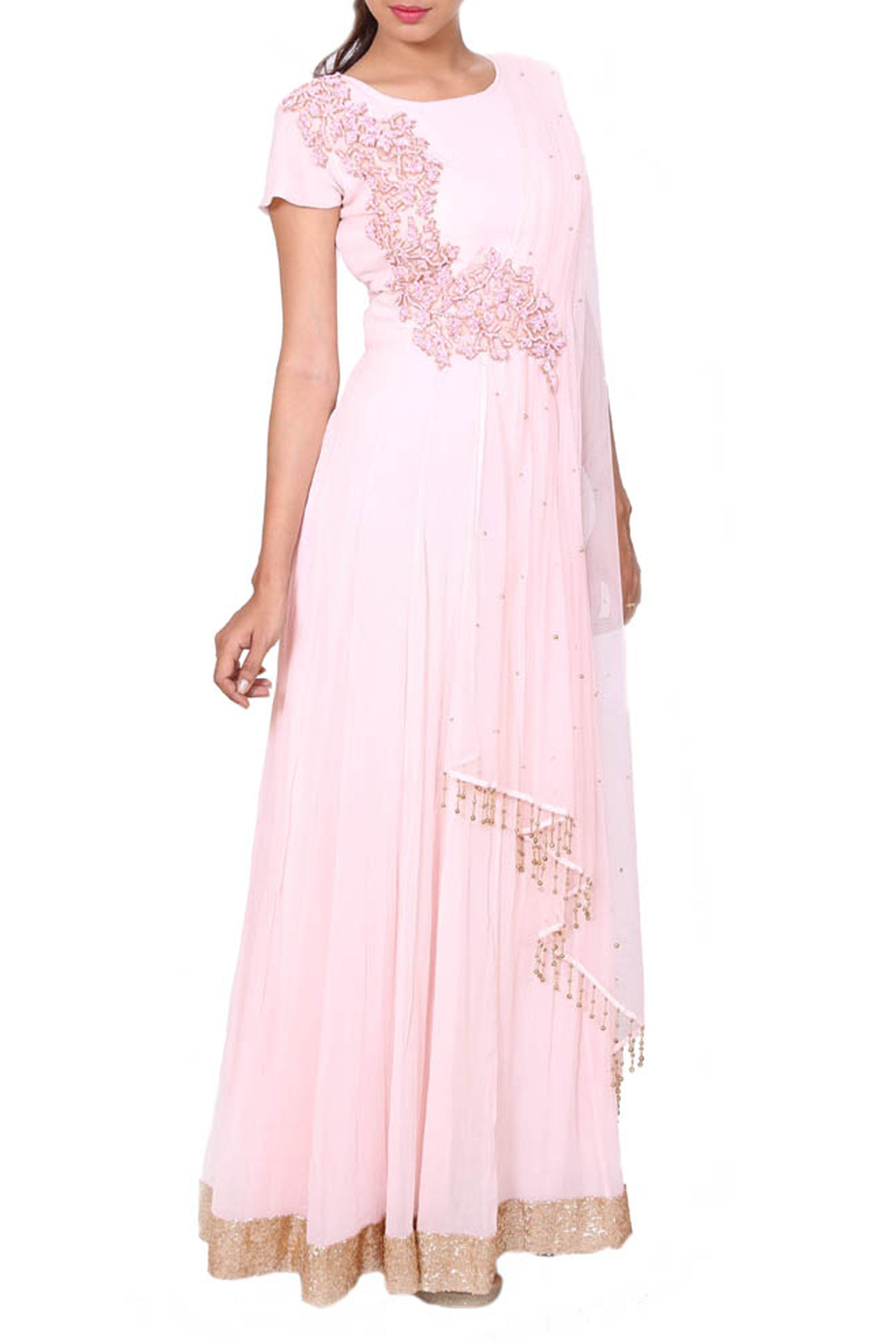 Intricately Embroidered Powdery Pink Gown Side