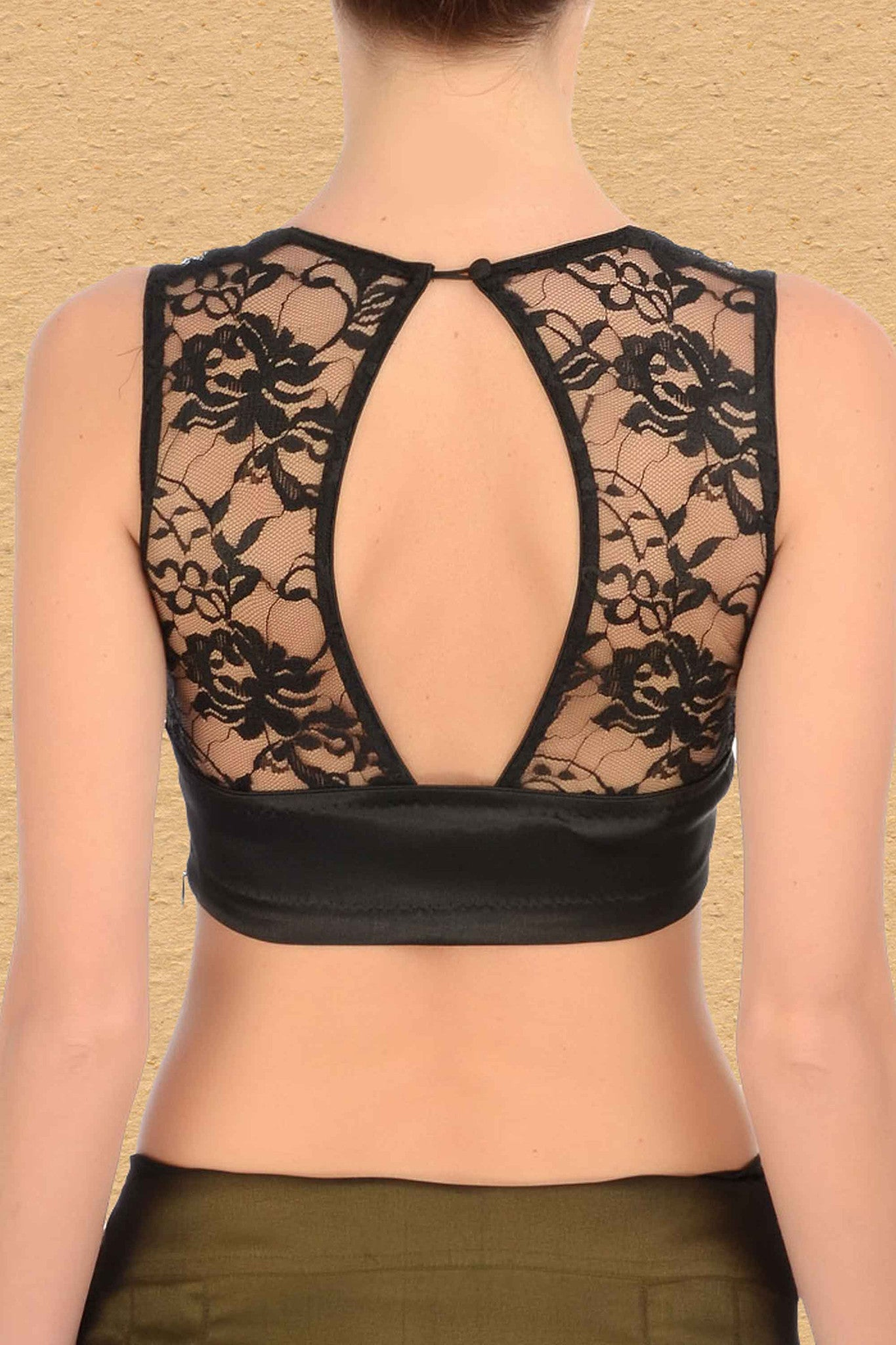 Black Blouse with Lace Back