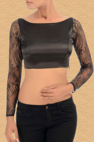 Black Blouse With Lace Sleeves Front