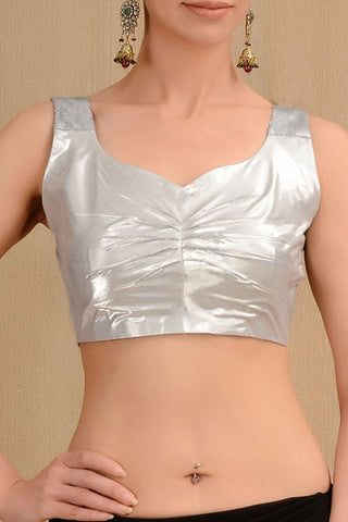 Shimmer Silver Blouse Front