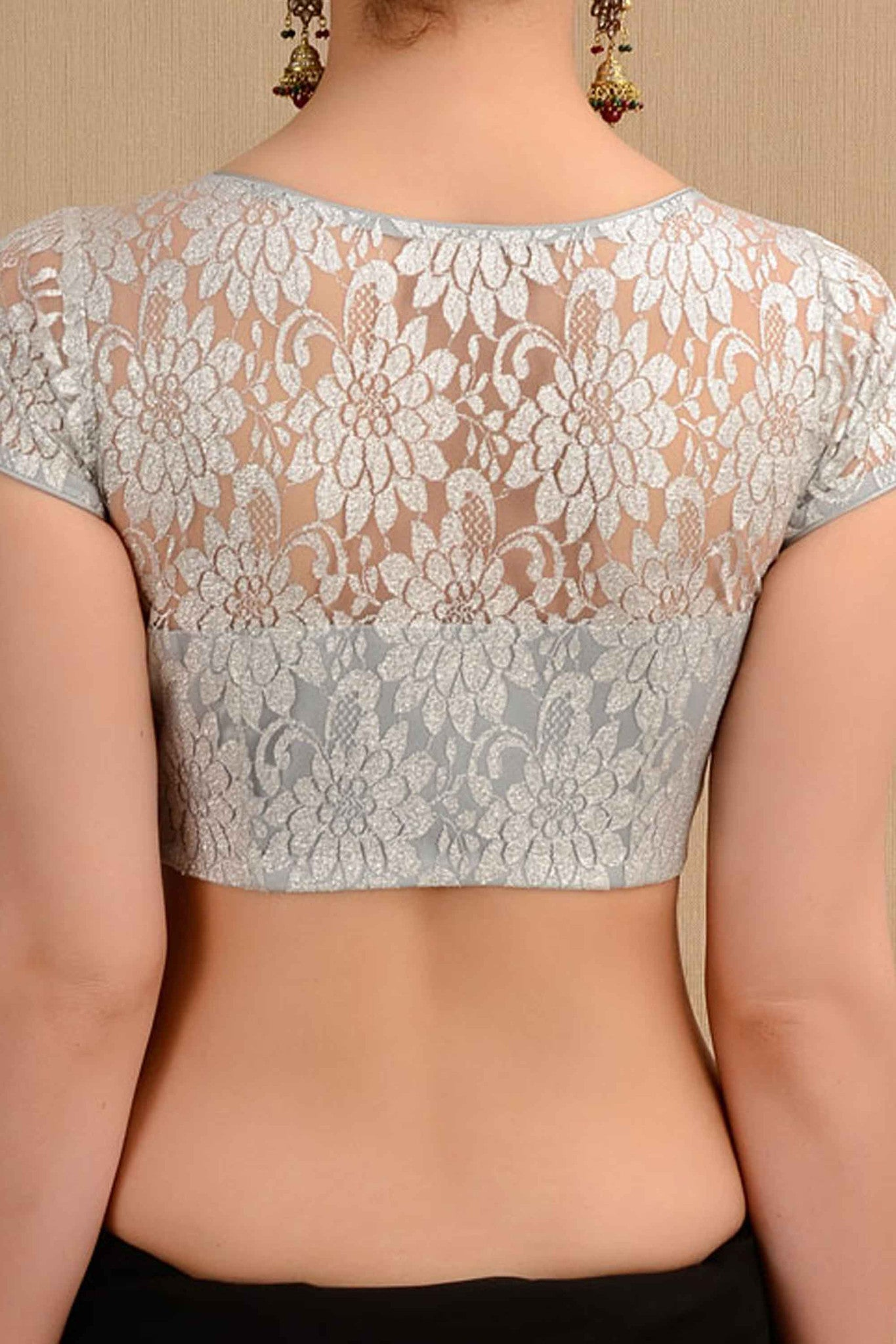 Flower Lace Silver Blouse Back