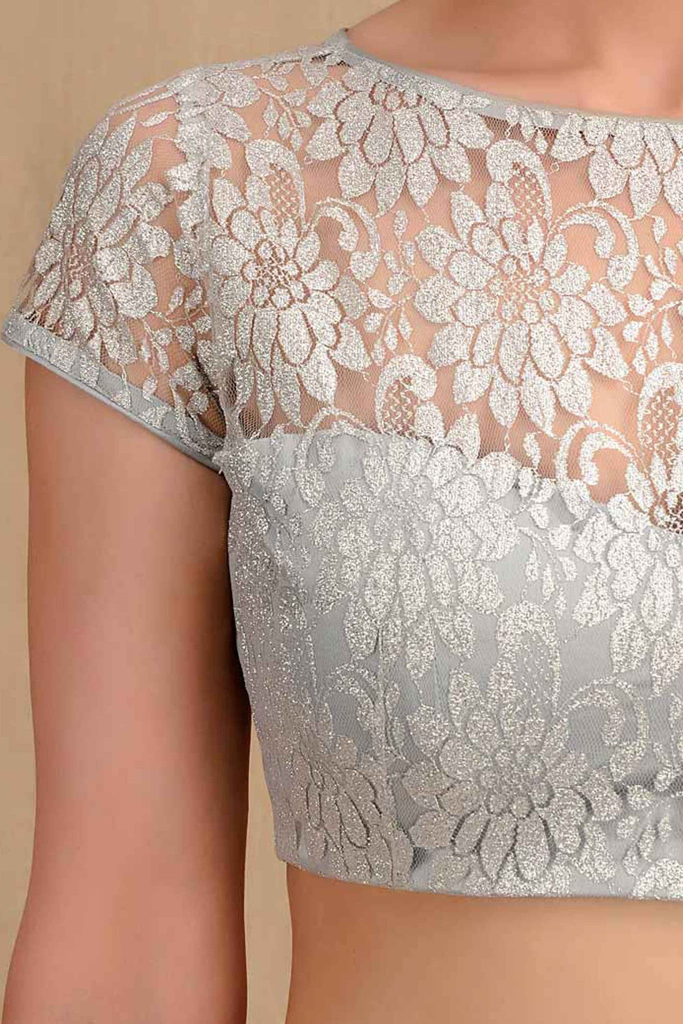 Flower Lace Silver Blouse CloseUp