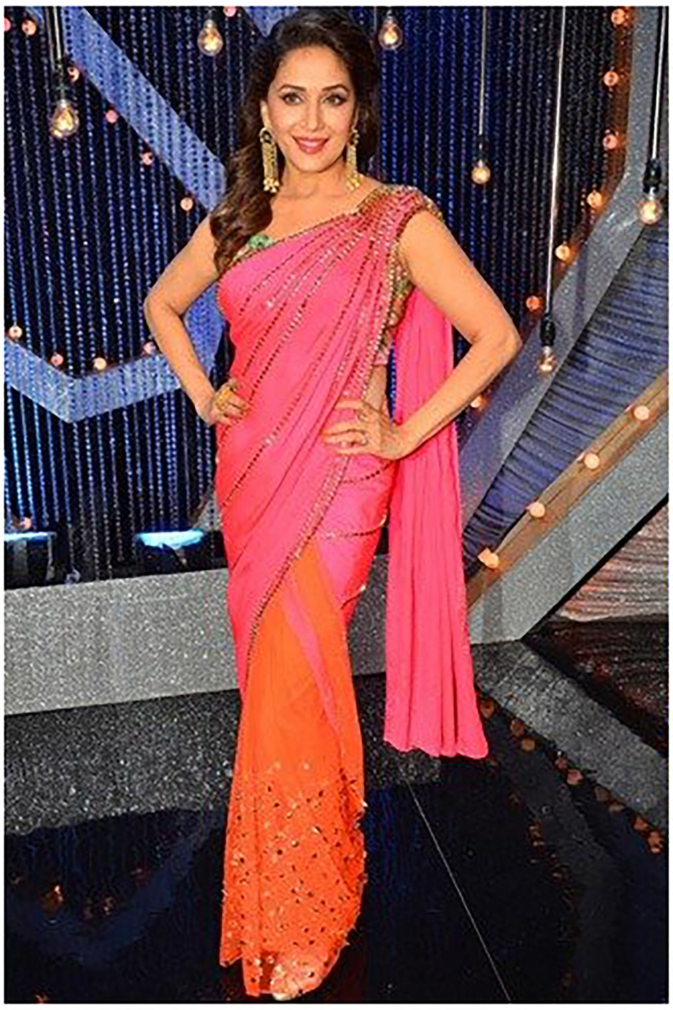 056ef149decceb Madhuri Dixit Wears VIVA-LUXE Designer Papa Don t Preach · Pink and Lime  Saree ...