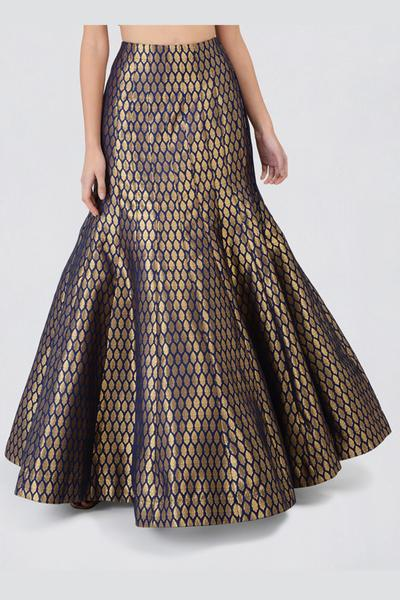 Sequin Gold Sleeveless Blouse With Navy Blue Brocade Fishtail Skirt & Navy Blue Dupatta Lehenga Set CLOSE