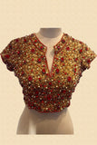 Gold Jewelled Blouse With Red Stones Front