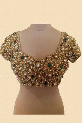 Jewelled Blouse With Emerald Green Stones Front