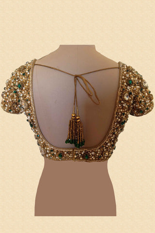 Jewelled Blouse With Emerald Green Stones