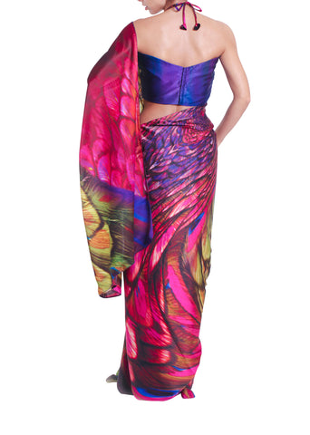 Printed Multi-Colour Silk Saree