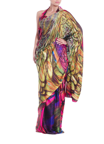 Purple Multicolour Silk Print Saree Parul Signature Front