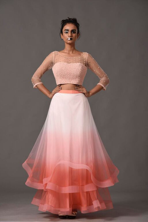Blush Pink Ombre Skirt Suit Front