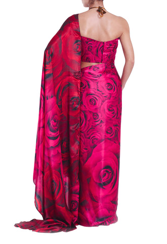 READY TO SHIP: Pink Rose 100% Silk Saree