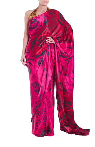 Pink Rose Silk Saree Parul Signature Front