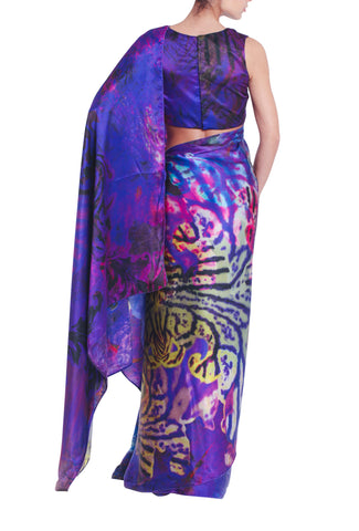 Printed Purple Silk Saree