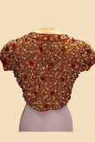 Gold Jewelled Blouse With Red Stones Back