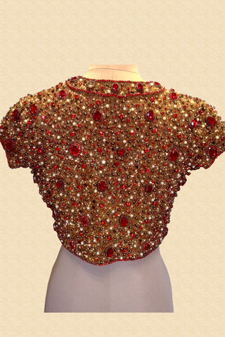 Gold Jewelled Blouse With Red Stones