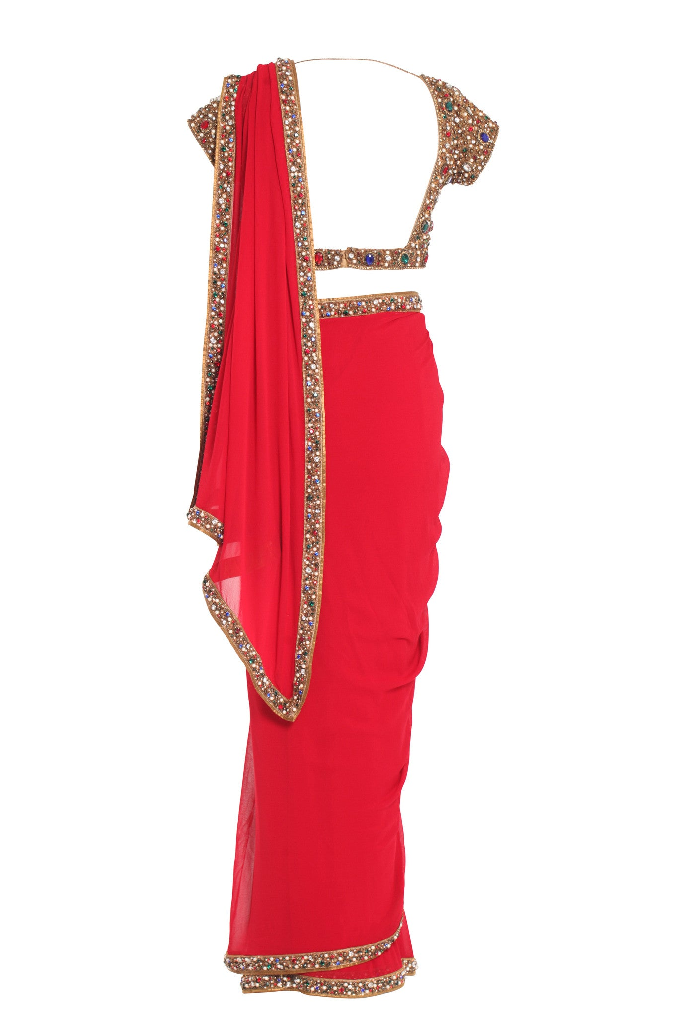 Red Silk Jewelled Saree Seema Khan Mannequin Front