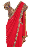 Red Silk Jewelled Saree Seema Khan Front Close Up