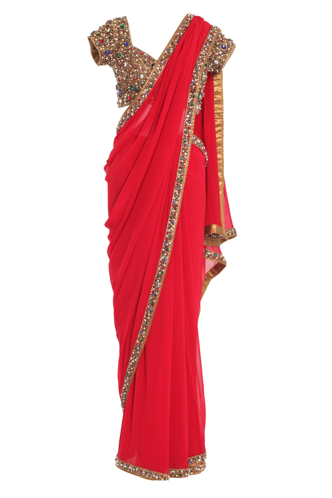 Red Saree & Jewelled Blouse | VIVA-LUXE