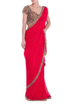 Red Silk Jewelled Saree Seema Khan Front