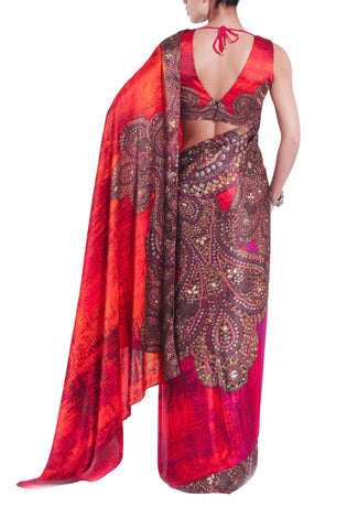 Orange & Pink Printed Silk Saree
