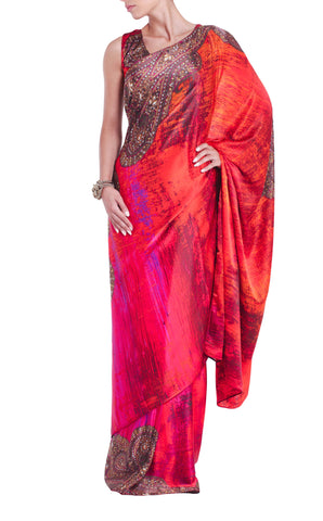 Red Pink Orange Silk Saree Parul Signature Front