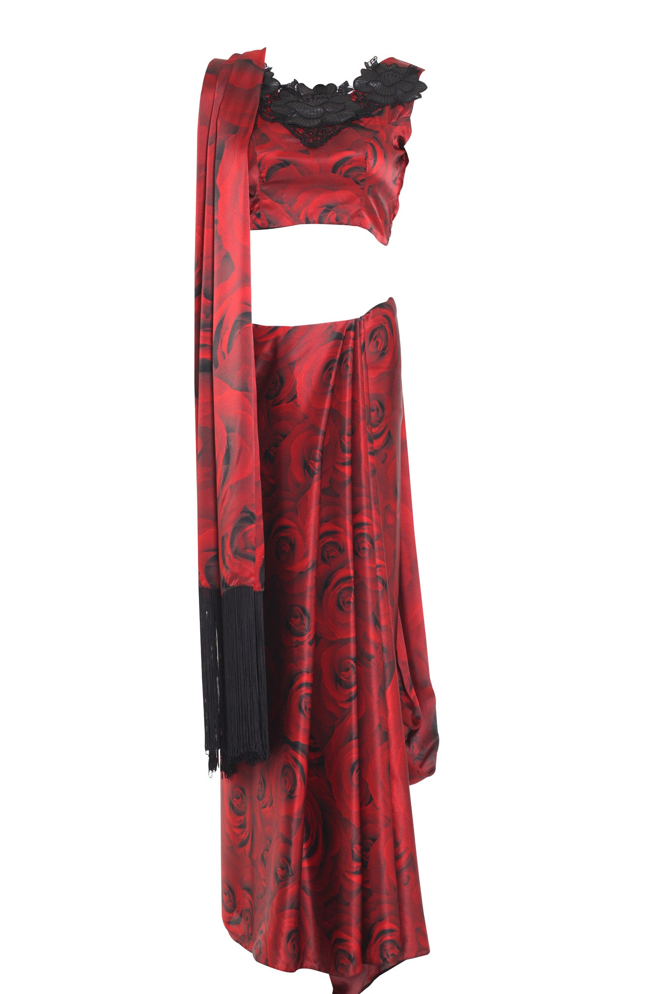 Red Rose Silk Saree Parul Signature Mannequin Front