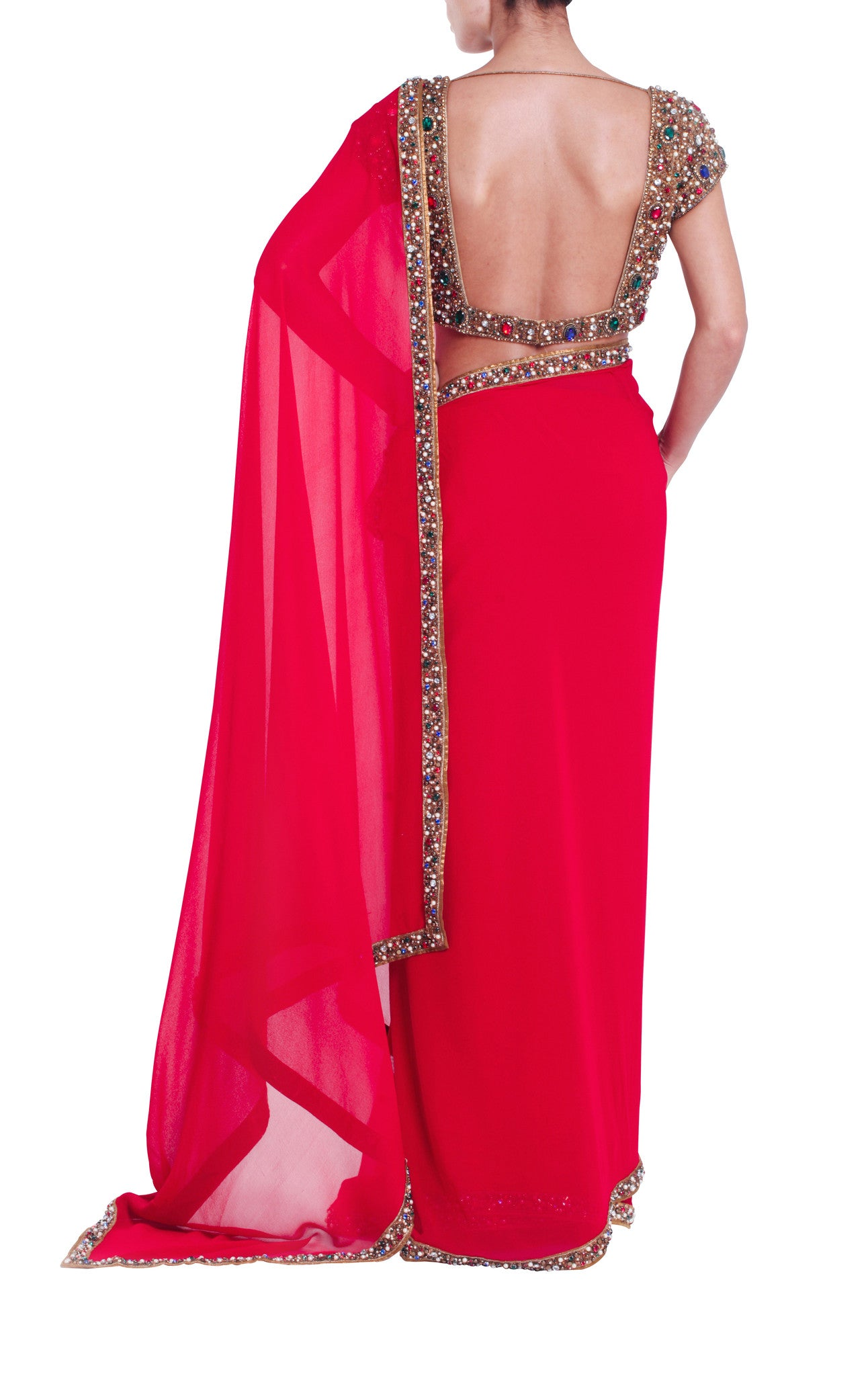 Red Silk Jewelled Saree Seema Khan Back