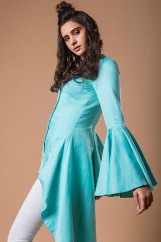 Bell Sleeved Low High Powder Blue Jacket SIDE