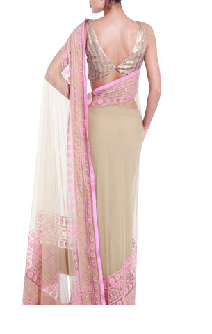 Light Khaki & Baby Pink Saree
