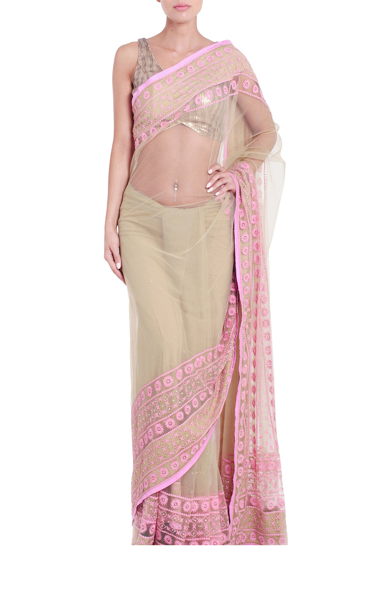 Shehla Khan Khaki Beige Tulle Saree Baby Pink Border Front
