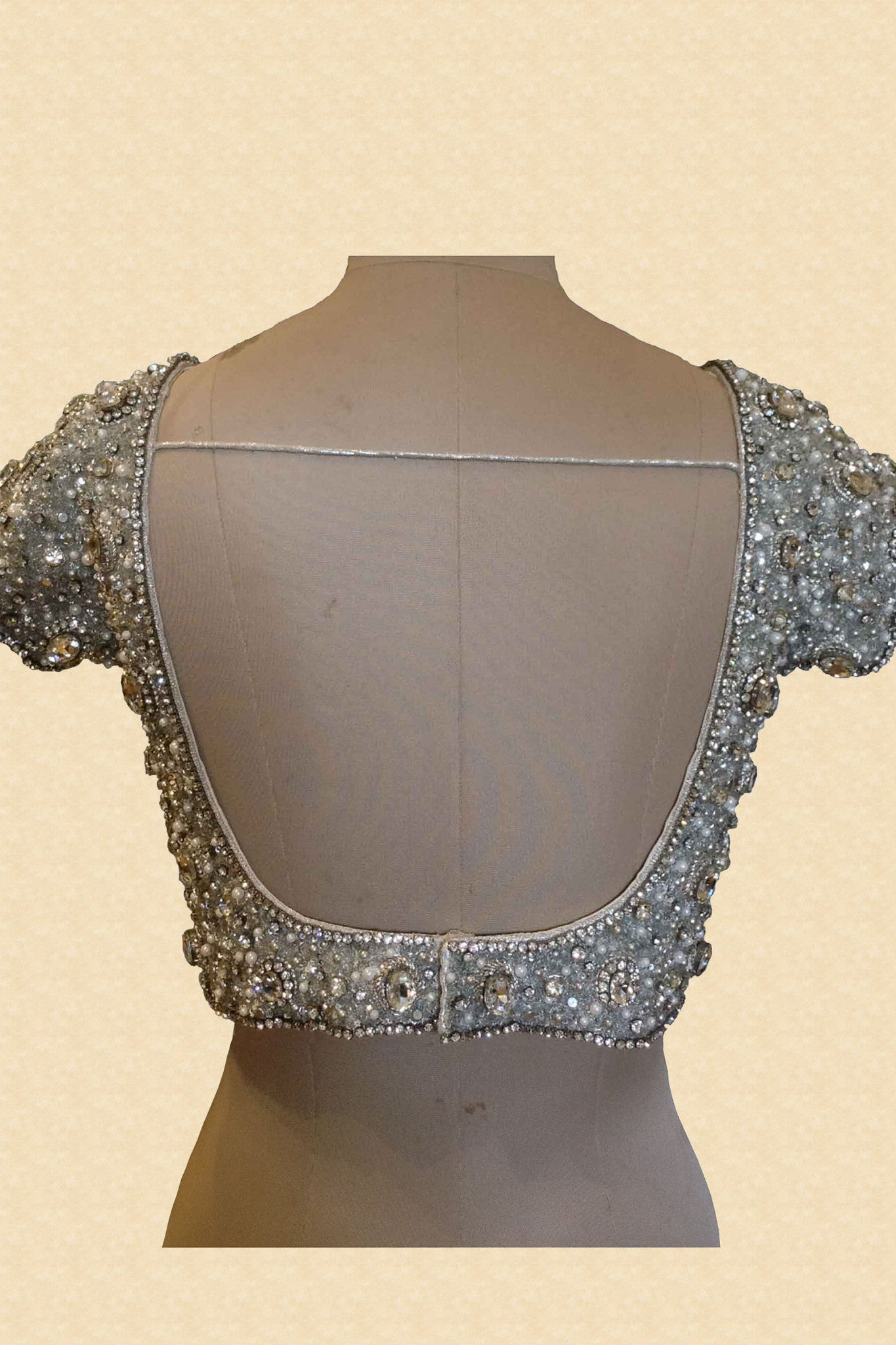 Silver Jewelled Blouse With Silver Stones Back