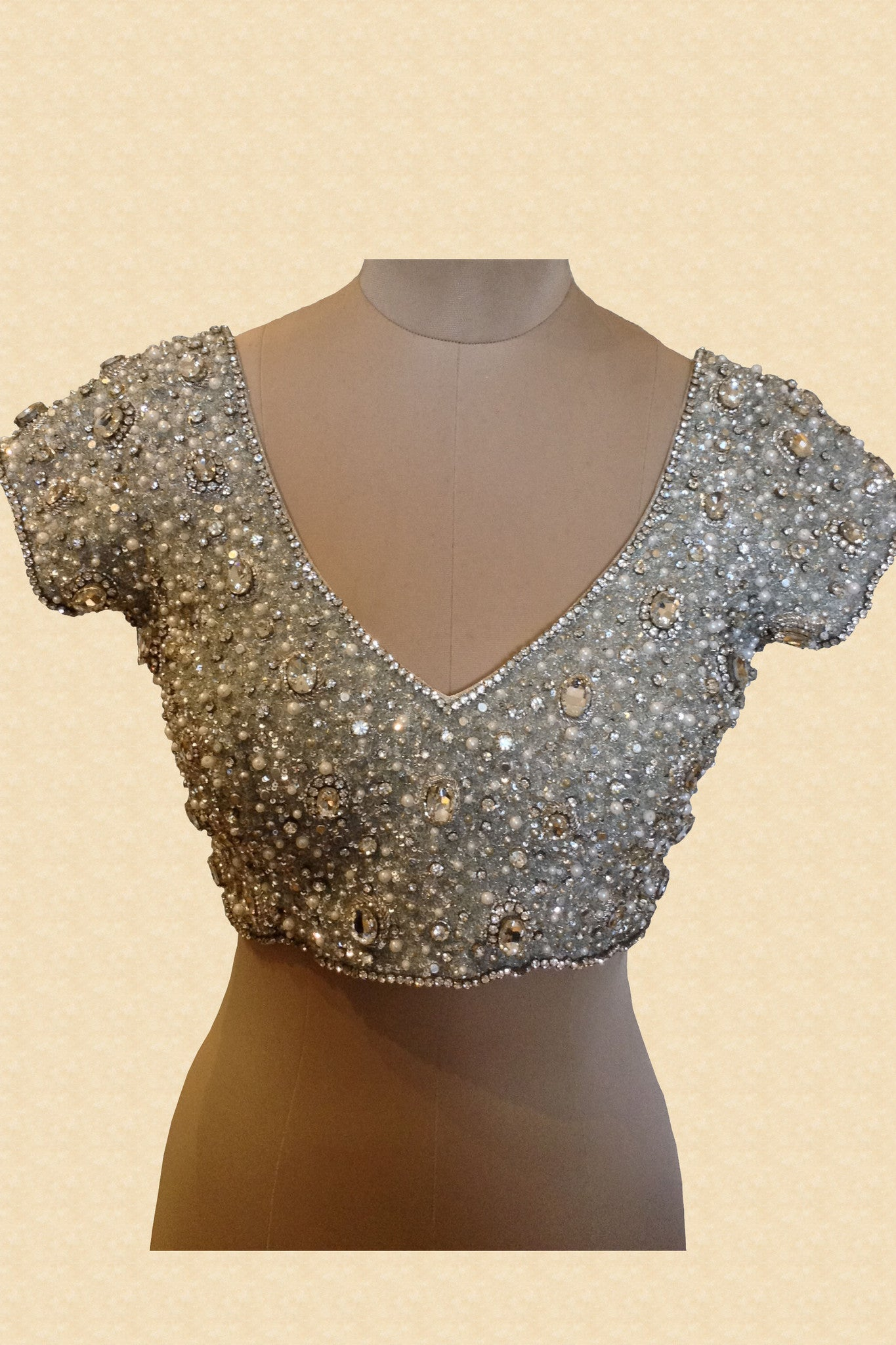 88d3a5358f63e8 Silver Jewelled Blouse With Silver Stones | VIVA-LUXE